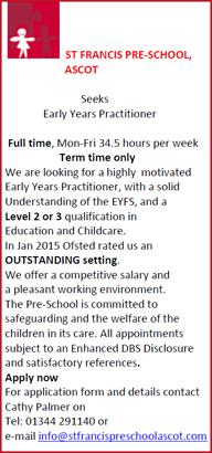St.Francis Pre School Job Vacancy