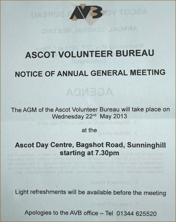 Ascot Volunteer Bureau :: AGM 2012