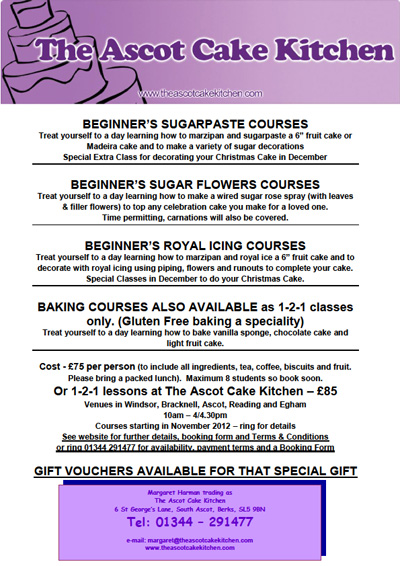 The Ascot Cake Kitchen :: Sugarpaste courses