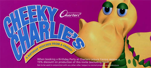 Cheeky Charlies, children's parties at Charters Leisure Centre