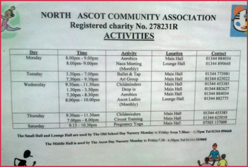 north ascot community centre :timetable