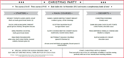 Christmas menus  : The Stag Ascot